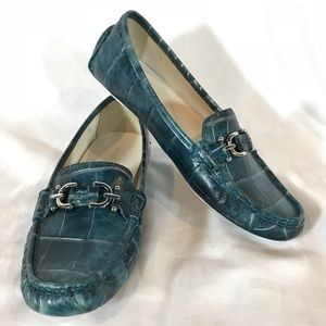 Donald J Pilner Viky Blue Leather Driving Loafers